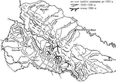 Карта-схема Карпатського регіону України